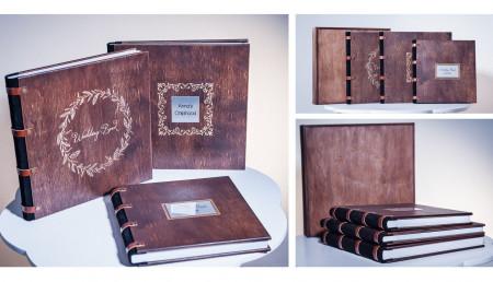 весільна фотокнига з деревяною обкладинкою