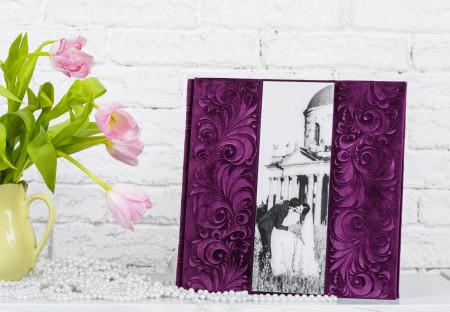 Весільна фотокнига оздоблена фото на акрилі з велюром та тисненням #9